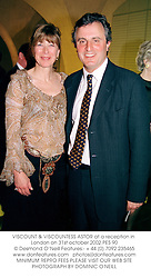VISCOUNT & VISCOUNTESS ASTOR at a reception in London on 31st october 2002.	PES 90