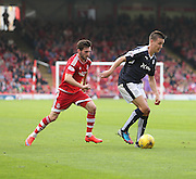 Dundee's Thomas Konrad and Aberdeen&rsquo;s Graeme Shinnie - Aberdeen v Dundee at Pittodrie<br /> - Ladbrokes Premiership<br /> <br />  - &copy; David Young - www.davidyoungphoto.co.uk - email: davidyoungphoto@gmail.com