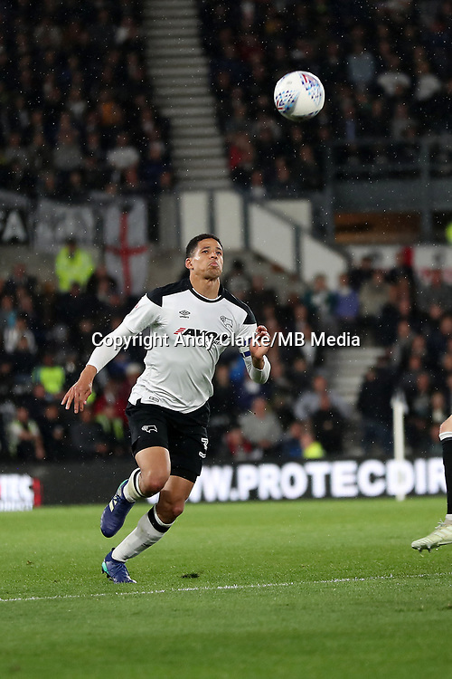 DERBY, ENGLAND - MAY 11: - DCFC vs Fulham. Curtis Davies, gets on the ball