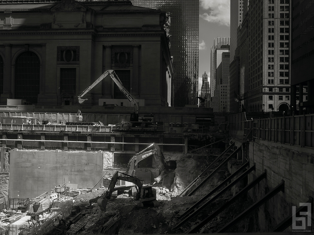 One Vanderbilt.  Backhoes move rubble as jackhammers drill into the bedrock forming the foundation inside the pit of New York City's latest supertall skyscraper across from Grand Central Terminal on 42nd Street in Manhattan