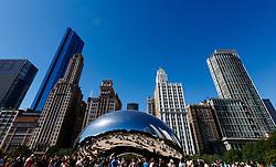 The Anish Kapoor designed sculpture Cloud Gate. Nicknamed The Bean in Millennium Park, Chicago