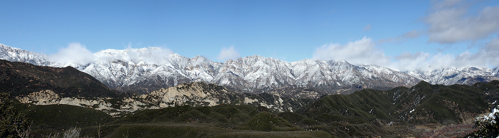 Snow Capped mountains in Los Padres National Forest California.