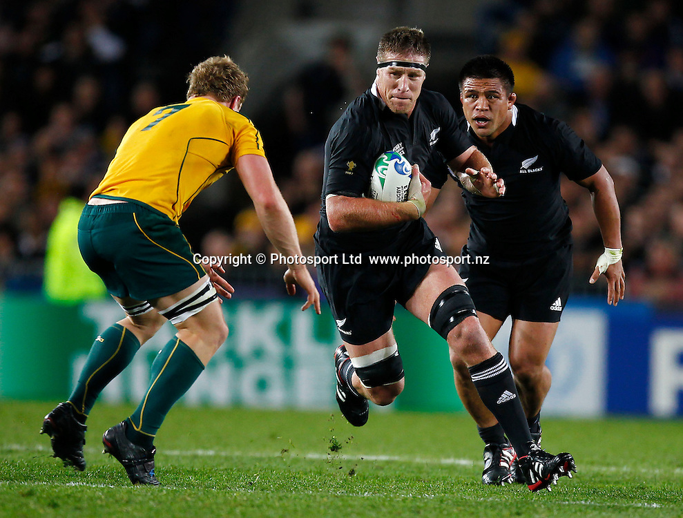 Brad Thorn of the All Blacks in action during the 2011 IRB Rugby World Cup Semi Final, Australia v New Zealand All Blacks, Eden Park,  Auckland, New Zealand. Sunday 16 October 2011. Photo: Simon Watts / photosport.co.nz