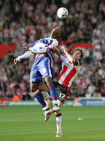 Photo: Lee Earle.<br /> Southampton v Queens Park Rangers. Coca Cola Championship. 30/09/2006. QPR's Ray Jones (L) battles with Mario Licka.