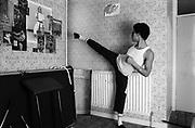 Young man practises karate, London, UK, 1980s