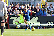 Barry Fuller (Captain) of AFC Wimbledon breaks into the box during the Sky Bet League 2 match between AFC Wimbledon and Hartlepool United at the Cherry Red Records Stadium, Kingston, England on 31 October 2015. Photo by Stuart Butcher.