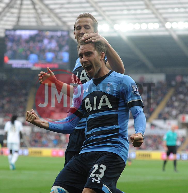 Christian Eriksen of Tottenham Hotspur celebrates his goal to make it 2-2. - Mandatory byline: Alex James/JMP - 07966 386802 - 04/10/2015 - FOOTBALL - Liberty stadium - Swansea, England - Swansea City  v Tottenham hotspur - Barclays Premier League