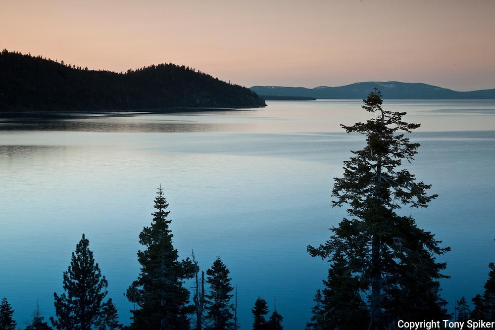 """Rubicon Bay Sunset 1"" - The sun sets over Rubicon Bay, Lake Tahoe, California."