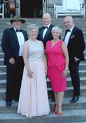 Andrew Beatty, Lesley Emerson, Boyd Gale, Nicci and Shane Smith enjoying the Westport Food Festival Mid Summer Banquet at Westport House.<br /> Pic Conor McKeown