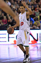 Jonathan Wallace (5) at basketball match of 3rd Round of Euroleague between KK Union Olimpija (SLO) and Lottomatica Roma (ITA), in Arena Tivoli, Ljubljana, Slovenia, on November 6, 2008. Lottomatica  won the match 78:67.