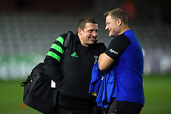 Harlequins Assistant Coach Toby Booth speaks with Bath Rugby Assistant Coach Neal Hatley prior to the match - Mandatory byline: Patrick Khachfe/JMP - 07966 386802 - 23/11/2019 - RUGBY UNION - The Twickenham Stoop - London, England - Harlequins v Bath Rugby - Heineken Champions Cup