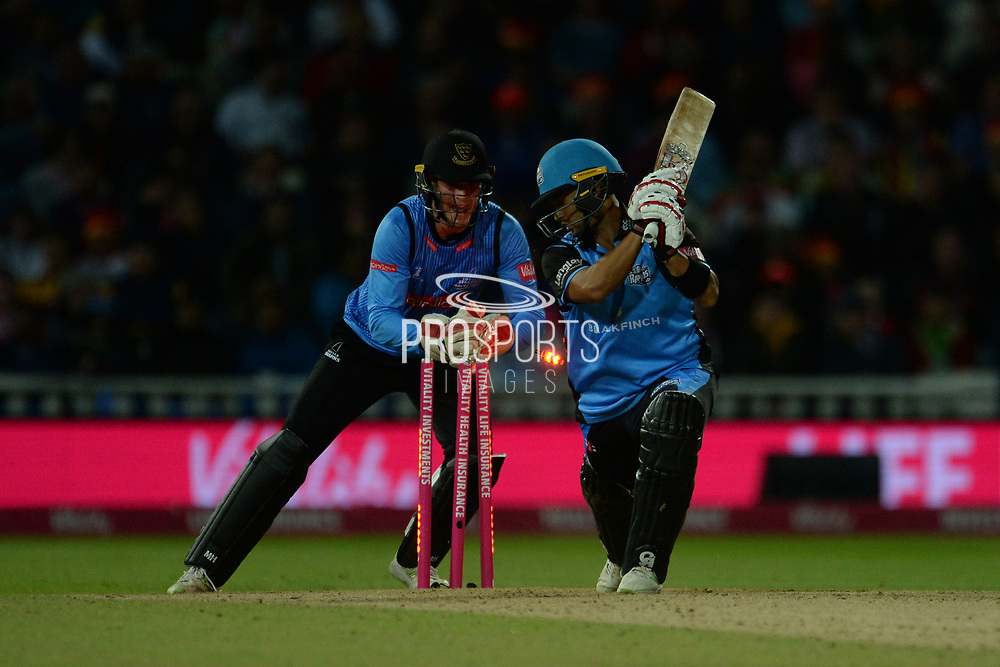 Brett D'Oliveira of Worcestershire Rapids is stumped by Michael Burgess off the bowling of Danny Briggs during the final of the Vitality T20 Finals Day 2018 match between Worcestershire Rapids and Sussex Sharks at Edgbaston, Birmingham, United Kingdom on 15 September 2018.