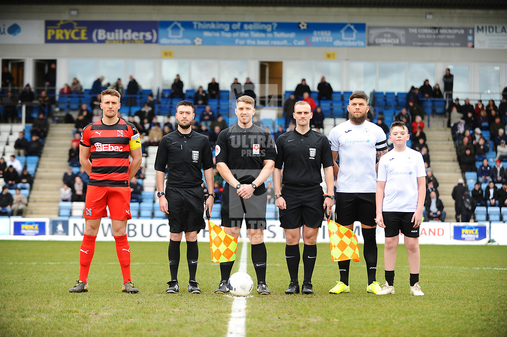 TELFORD COPYRIGHT MIKE SHERIDAN (Mascot lineup)  during the Vanarama Conference North fixture between AFC Telford United and Darlington at The New Bucks Head on Saturday, March 7, 2020.<br /> <br /> Picture credit: Mike Sheridan/Ultrapress<br /> <br /> MS201920-049
