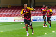 James Vaughan warming up before the EFL Sky Bet League 2 match between Bradford City and Oldham Athletic at the Northern Commercials Stadium, Bradford, England on 17 August 2019.