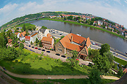 MEISSEN, GERMANY - MAY 22, 2010: View to the historical buildings along the banks of the Elbe river in Meissen, Germany. Filmed with a fish-eye lans.