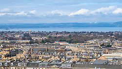 Skyline of Edinburgh over the New Town towards the Firth of forth and Fife from Calton Hill, Scotland, United Kingdom