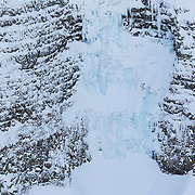 Aerial view of an popular Ice climb. It´s called Þilið WI5, and is located in the valley Eilífsdalur on the north side of mt. Esja. Iceland.