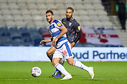 Queens Park Rangers forward Tomer Hemed (16) on loan from Brighton & Hove Albion battles with Sheffield Wednesday defender Michael Hector (34) during the EFL Sky Bet Championship match between Queens Park Rangers and Sheffield Wednesday at the Loftus Road Stadium, London, England on 23 October 2018.