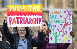© Licensed to London News Pictures. 04/03/2018. London, UK. Protesters join March 4 Women which marks the centenary of the Representation of the People's Act 1918 by retracing the steps of the Suffragettes from Parliament to Trafalgar Square. Photo credit: Rob Pinney/LNP
