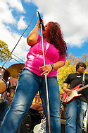 "Blues Singer Sweet Suzi Smith of ""Sweet Suzi & Sugafixx"" and guitarist John Puglisi, performing at Merrick Street Fair in Merrick, New York, USA, on October 22-23, 2011"