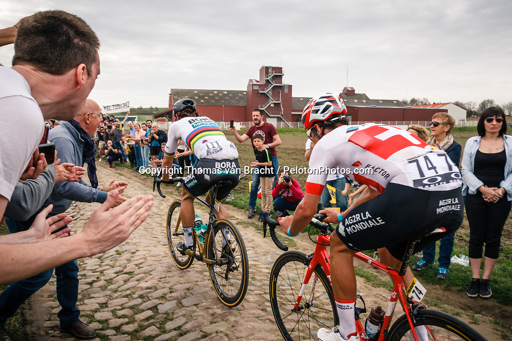 Peter SAGAN from Slovakia of Bora-Hansgrohe at the 4 star cobblestone sector 11 of Mons-en-Pévèle during the 2018 Paris-Roubaix race, France, 8 April 2018, Photo by Thomas van Bracht / PelotonPhotos.com | All photos usage must carry mandatory copyright credit (Peloton Photos | Thomas van Bracht)
