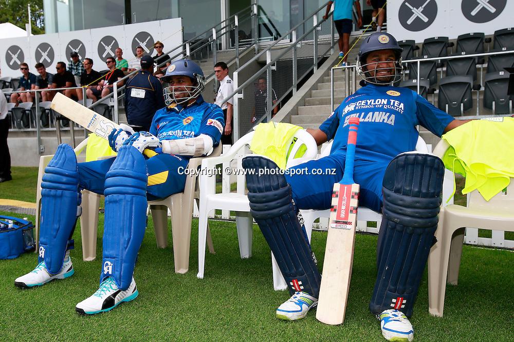 Tillakaratne Dilshan and Dimuth Karunaratne of Sri Lanka before the first ODI between the Black Caps v Sri Lanka at Hagley Oval, Christchurch. 11 January 2015 Photo: Joseph Johnson / www.photosport.co.nz