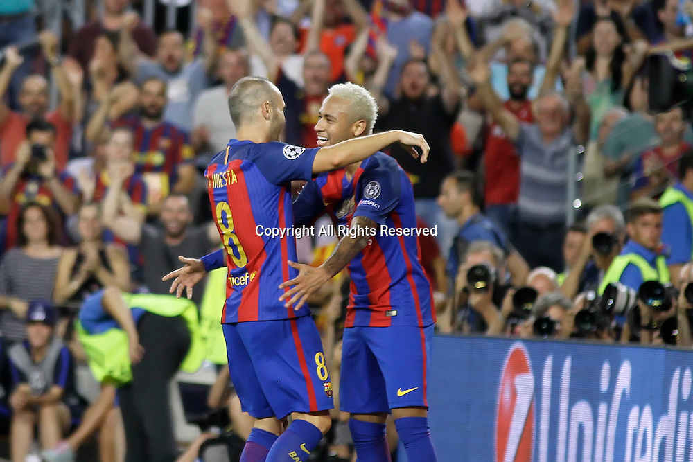 13.09.2016. Nou Camp, Barcelona, Spain. UEFA Champions League Football. Barcelona versus Celtic. Iniesta celebrating his goal with Neymar