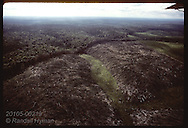 Aerial: charred clearcut will soon be cattle pasture on ranch in Amazon jungle;north of Manaus Brazil