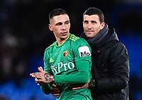 Football - 2018 / 2019 Premier League - Crystal Palace vs. Watford<br /> <br /> Watford manager Javi Gracia celebrates with Jose Holebas at the final whistle after their 2-1 victory, at Selhurst Park.<br /> <br /> COLORSPORT/ASHLEY WESTERN