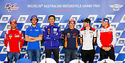 World Moto GP Championship 2018. Round17 @ Phillip Island. Australia. Michelin Australian Motorcycle Grand Prix. Thursday. 25.10.2018. Press Conference. (L-R) - Alvaro Bautista, Ducati,  Andrea IANNONE,  SUZUKI ECSTAR team, #46 Valentino ROSSI (Ita) Movistar Yamaha MotoGP speaks as Marc MARQUEZ (Esp) loos for devine intervention from above, Carl Crutchlow, # 43,  Jack MILLER,  AUS, Alma Pramac Racing, MotoGP, <br /> .- fee liable image, copyright &copy; ATP / Damir IVKA