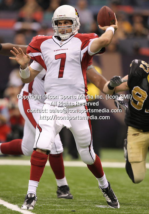 16 January 2010:  Arizona Cardinals quarterback Matt Leinart (7) looks to throw during a 45-14 win by the New Orleans Saints over the Arizona Cardinals in a 2010 NFC Divisional Playoff game at the Louisiana Superdome in New Orleans, Louisiana.