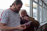 (R) Henryk Olszewski and (L) Tomasz Majewski while his training session at Sport's Academy (AWF) in Warsaw.<br /> Tomasz Majewski is a Polish shot putter and a double Olympic gold medalist (Beijing 2008 and London 2012).<br /> <br /> Poland, Warsaw, January 28, 2014<br /> <br /> Picture also available in RAW (NEF) or TIFF format on special request.<br /> <br /> For editorial use only. Any commercial or promotional use requires permission.<br /> <br /> Mandatory credit:<br /> Photo by &copy; Adam Nurkiewicz / Mediasport