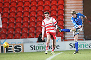 Andy Cannon shoots during the EFL Sky Bet League 1 match between Doncaster Rovers and Rochdale at the Keepmoat Stadium, Doncaster, England on 29 December 2017. Photo by Daniel Youngs.