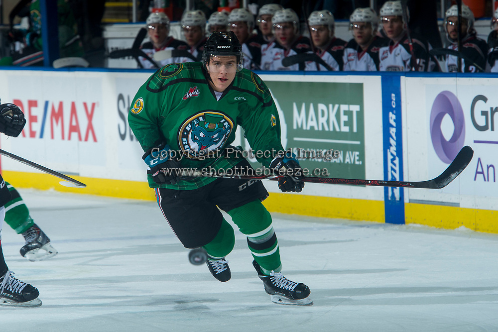 KELOWNA, CANADA - MARCH 18:  Marek Skvrne #9 of the Kelowna Rockets skates against the Vancouver Giants on March 1, 2018 at Prospera Place in Kelowna, British Columbia, Canada.  (Photo by Marissa Baecker/Shoot the Breeze)  *** Local Caption ***