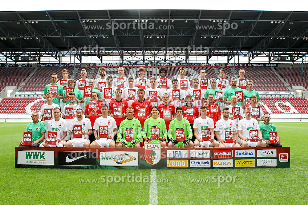08.07.2015, WWK Arena, Augsburg, GER, 1. FBL, FC Augsburg, Fototermin, im Bild l-r: hinter Reihe, Marco Schuster #29 (FC Augsburg), Alexander Esswein #11 (FC Augsburg), Halil Altintop #7 (FC Augsburg), Ragnar Klavan #5 (FC Augsburg), Jeong-Ho Hong #20 (FC Augsburg), Francisco da Silva Caiuby #30 (FC Augsburg), Christoph Janker #16 (FC Augsburg), Nikola Djurdjic #34 (FC Augsburg), Markus Feulner #8 (FC Augsburg), Dominik Kohr #21 (FC Augsburg), l-r: 2 Reihe von hinten, Arzt Florian Elser (FC Augsburg),Mannschaftsarzt Andreas Weigel (FC Augsburg), Mannschaftsarzt Peter Stiller (FC Augsburg), Jan Moravek #14 (FC Augsburg), Raphael Framberger #32 (FC Augsburg), Paul Verhaegh #2 (FC Augsburg), Arif Ekin #31 (FC Augsburg), Daniel Baier #10 (FC Augsburg), Physiotherapeut James Morgen (FC Augsburg), Physio Marco Grimm (FC Augsburg), Physio Oliver Roesch (FC Augsburg), l-r: 2 Reihe von vorne, Maik Uhde #39 (FC Augsburg), Ronny Philp #3 (FC Augsburg), Videoanalyse Lars Gerling (FC Augsburg), Reha- und Athletik-Trainer Thomas Barth (FC Augsburg), Tortwarttrainer Zdenko Miletic (FC Augsburg), Co-Trainer Tobias Zellner (FC Augsburg), Co-Trainer Wolfgang Beller (FC Augsburg), Chef-Trainer Markus Weinzierl (FC Augsburg), Tobias Werner #13 (FC Augsburg), Bastian Kurz #26 (FC Augsburg), l-r: vorder Reihe, Zeugwart Zdenek Vidrman (FC Augsburg), Tim Rieder #40 (FC Augsburg), Sascha Moelders #33 (FC Augsburg), Dong Won Ji #22 (FC Augsburg), Alexander Manninger #1 (FC Augsburg), Marwin Hitz #35 (FC Augsburg), Yannik Oettl #28 (FC Augsburg), Max Reithaler #36 (FC Augsburg), Tim Matavz #23 (FC Augsburg), Jan-Ingwer Callsen-Bracker #18 (FC Augsburg), Zeugwart Salvatore Belardo (FC Augsburg) // during the official Team and Portrait Photoshoot of German Bundesliga Club FC Augsburg at the WWK Arena in Augsburg, Germany on 2015/07/08. EXPA Pictures &copy; 2015, PhotoCredit: EXPA/ Eibner-Pressefoto/ Kolbert<br /> <br /> *****ATTENTION - OUT of GER*****