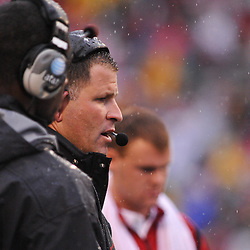 Sep 26, 2009; College Park, MD, USA; Rutgers head coach Greg Schiano speaks to his players during the first half of Rutgers' 34-13 victory over Maryland in NCAA college football at Byrd Stadium.