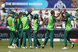 June 28, 2019 - Chester Le Street, County Durham, United Kingdom - Dwaine Pretorius celebrates after claiming the wicket Kusal Mendis   during the ICC Cricket World Cup 2019 match between Sri Lanka and South Africa at Emirates Riverside, Chester le Street on Friday 28th June 2019. (Credit Image: © Mi News/NurPhoto via ZUMA Press)