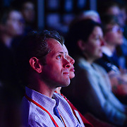 Audience members listen to speakers at TEDx Piscataqua, May 6, 2015 at 3S Artspace in Portsmouth NH