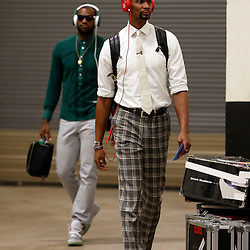 Jun 16, 2013; San Antonio, TX, USA; Miami Heat center Chris Bosh (right) and small forward LeBron James arrive for game five in the 2013 NBA Finals against the San Antonio Spurs at the AT&T Center. Mandatory Credit: Derick E. Hingle-USA TODAY Sports