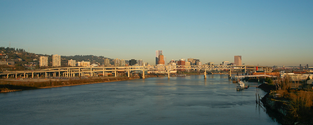 Portland, Oregon at Sunrise from the Ross Island Bridge