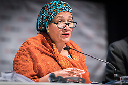 "29 October 2018, Uppsala, Sweden: Amina Mohammed speaks during a plenary on ""The role of faith based actors in achieving the 2030 Agenda for Sustainable Development"". The session included speeches by Amina Mohammed, Deputy Secretary General of the United Nations, Carin Jämtin, Director General of Swedish International Development Cooperation Agency, and Swedish deputy Prime Minister Isabella Löwin. Rev. Dr Martin Junge, General Secretary of the Lutheran World Federation moderated the session."