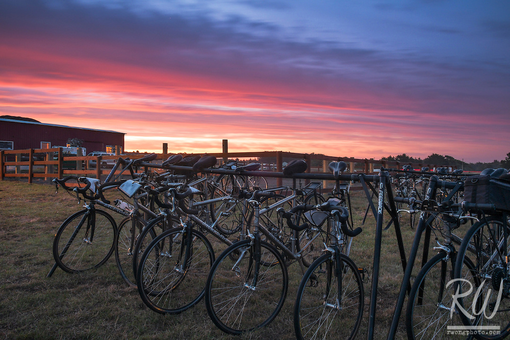 Backroads Bike Rack at Sunrise / Chanslor Ranch, Bodega Bay, California