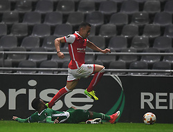 BRAGA, Oct. 20, 2017  Jefferson(top) of Braga vies with Cicinho of Ludogorets during the Europa League soccer match between SC Braga and PFC Ludogorets 1945 at the Braga Municipal Stadium in Braga, Portugal, on Oct. 19, 2017. (Credit Image: © Zhang Liyun/Xinhua via ZUMA Wire)