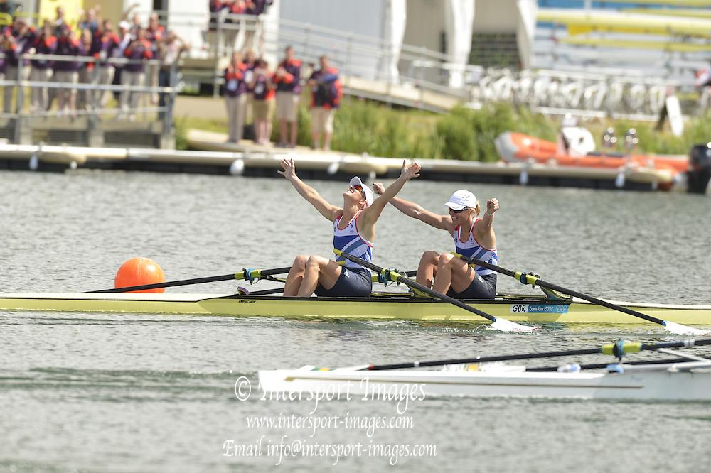 Eton Dorney, Windsor, Great Britain,..2012 London Olympic Regatta, Dorney Lake. Eton Rowing Centre, Berkshire.  Dorney Lake.   ..Final, Women's Double Sculls. GBR W2X. Anna WATKINS and Katherine GRAINGER. .. 12:17:05  {DOW]  {DATE}    [Mandatory Credit: Peter Spurrier/Intersport Images]  .