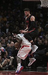 December 17, 2018 - Los Angeles, California, United States of America - Montrezl Harrell #5 of the Los Angeles Clippers is fouled by Noah Vonleh #21 of the Portland Trailblazers during their NBA game on Monday December 17, 2018 at the Staples Center in Los Angeles, California. Clippers lose to Trailblazers, 127-131. JAVIER ROJAS/PI (Credit Image: © Prensa Internacional via ZUMA Wire)