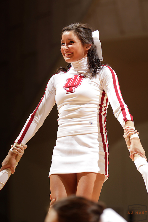 15 February 2012: An Indiana Cheerleader as the Indiana Hoosiers played the Northwestern Wildcats in a college basketball game in Blomington, Ind.