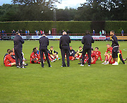 Dundee manager Paul Hartley speaks to his players after the final whistle - Brechin City v Dundee, pre-season friendly at Dens Park<br /> <br />  - &copy; David Young - www.davidyoungphoto.co.uk - email: davidyoungphoto@gmail.com