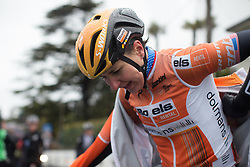 \megguar of Boels-Dolmans Cycling Team puts on dry clothes after the Trofeo Alfredo Binda - a 131,1 km road race, between Taino and Cittiglio on March 18, 2018, in Varese, Italy. (Photo by Balint Hamvas/Velofocus.com)