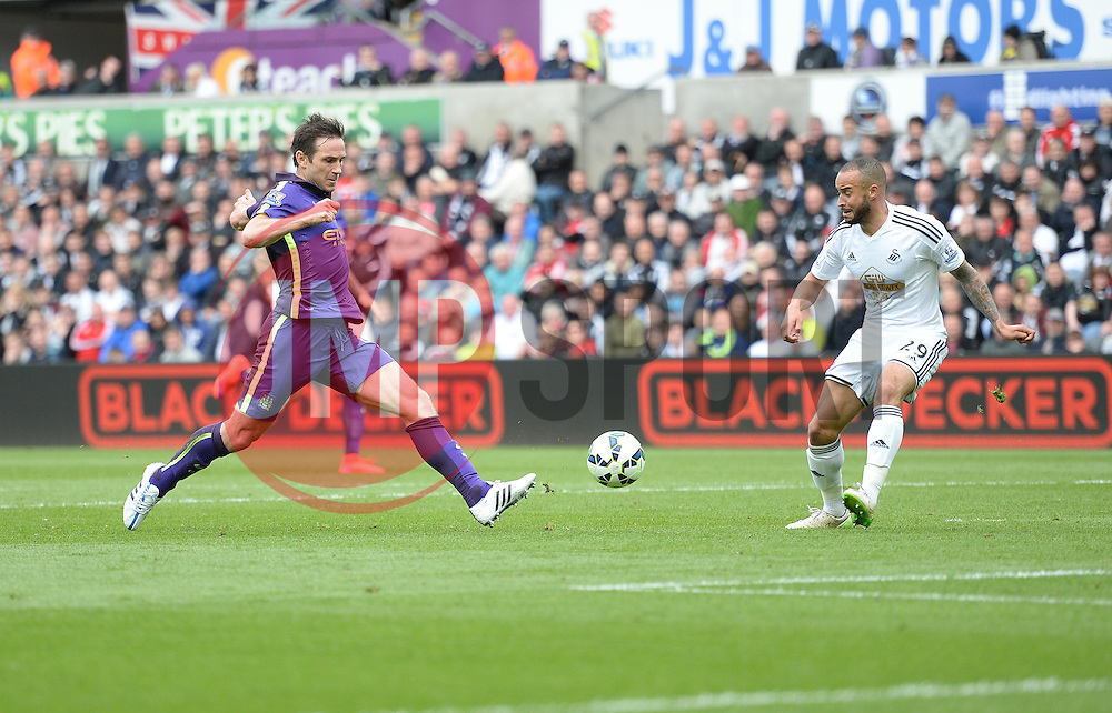 Manchester City's Frank Lampard shoots at goal. - Photo mandatory by-line: Alex James/JMP - Mobile: 07966 386802 - 17/05/2015 - SPORT - Football - Swansea - The Liberty stadium - Swansea City v Manchester City - Barclays premier league
