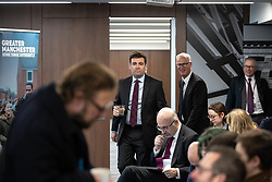 "© Licensed to London News Pictures. 07/01/2019. Manchester, UK. The Metro Mayor of Greater Manchester ANDY BURNHAM arrives to announce a revised plan for new housing (some on greenbelt land) , transport infrastructure , the reduction of pollution and improvements to the environment across the North West , alongside the regeneration of Stockport Town Centre , at an event at etc Venues in Manchester City Centre . The new "" Spatial Framework "" also reaffirms the region's commitment to ban fracking and lists 50,000 new "" affordable "" homes (30,000 of which are specified as social housing) . Photo credit: Joel Goodman/LNP"